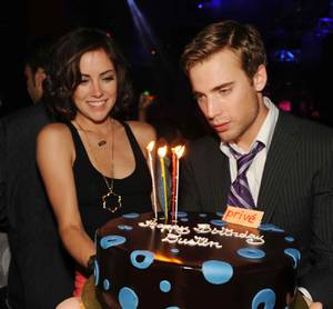 Dustin Milligan celebrates his 24th birthday with girlfriend and <em>90210</em> costar Jessica Stroup at Prive.