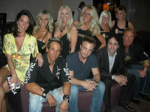 George Maloof, seated second from right, and the cast of Sunset Tan.