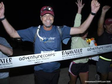Bill Andrews crosses the Badwater Ultramarathon finish line.