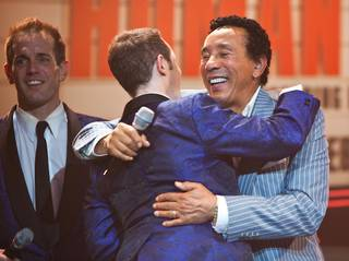 Smokey Robinson makes a surprise appearance onstage with Human Nature at the Imperial Palace Showroom.