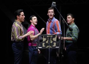 Jeff Leibow, Rick Faugno, Erich Bergen and Deven May in <em>Jersey Boys</em> at the Palazzo.