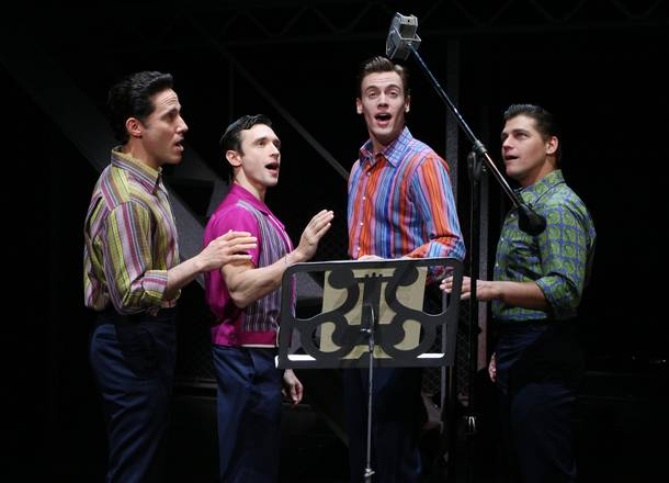 Jeff Leibow, Rick Faugno, Erich Bergen and Deven May in Jersey Boys at the Palazzo.
