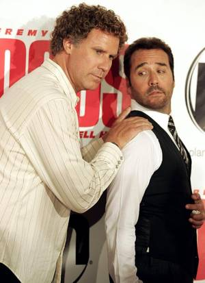 Actors Jeremy Piven and Will Ferrell pose on the red carpet during the Las Vegas premiere of <em>The Goods</em> at Planet Hollywood on Wednesday.