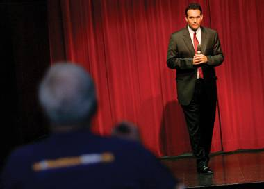 Danny Tarkanian takes a question from an audience member during a health-care town-hall meeting at the Starbright Theater on August 20.