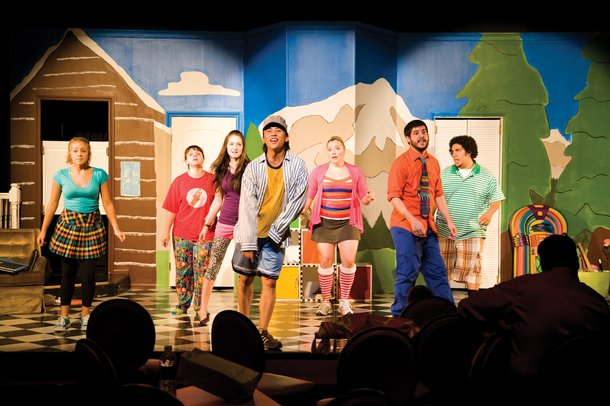 A rehearsal for Schoolhouse Rock at Town Square's Stage Door.