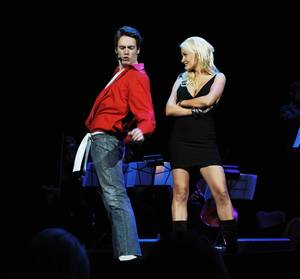 "Erich Bergen and Holly Madison during ""Las Vegas Celebrates the Music of Michael Jackson"" at The Pearl in the Palms."