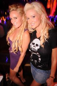 Former <em>Girls Next Door</em> stars Bridget Marquardt, left, and Holly Madison at the Creative Recreation/Hudson Jeans party at XS in the Encore.