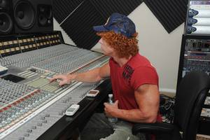Carrot Top attends the recording of his new opening song <em>Send in the Clowns</em> at Hit Track recording studio.