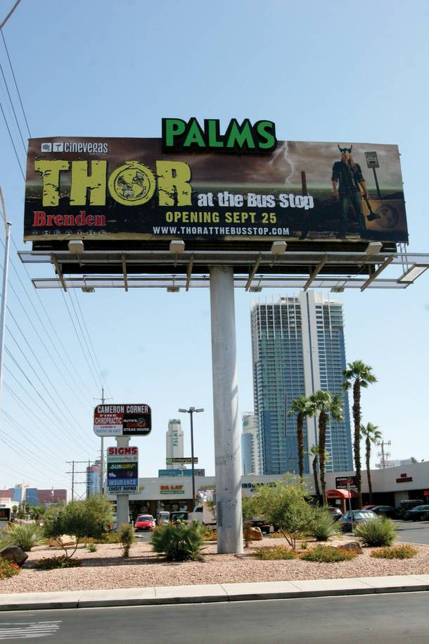 Thor on the billboard promotes Thor at the Bus Stop