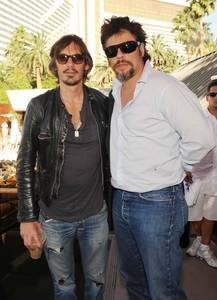 Lukas Haas and Benicio Del Toro at Bare Pool Lounge at The Mirage.