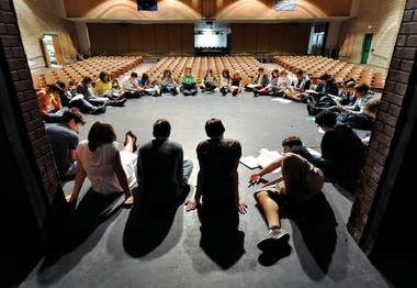 Circle time: Green Valley High students, during a read-through of The Laramie Project: 10 Years Later.