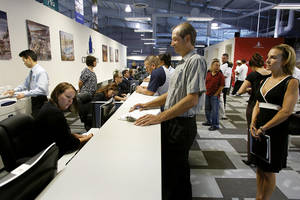 A job fair at the CityCenter Career Center in July.