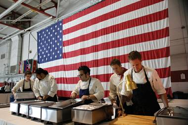 Top Chef contestants prepare a meal for the troops at Nellis Air Force Base on a recent episode.