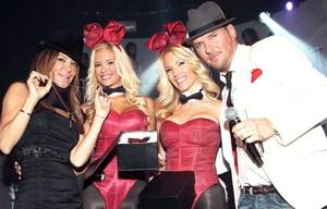 Robin Antin and Matt Goss flank Playboy Bunnies Jessa and Denise at the Palms.