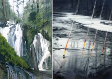 """American Falls #2"" and ""Event"" by artist Robert Beckmann"