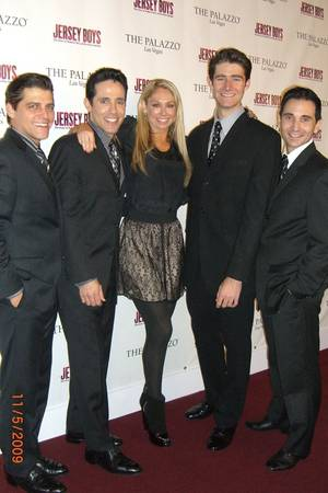<em>Dancing With the Stars'</em> Kym Johnson, center, with <em>Jersey Boys</em> cast members Deven May, Jeff Leibow, Drew Gehling and Travis Cloer at the Palazzo.