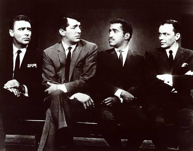 The Rat Pack's Joey Bishop, Dean Martin, Sammy Davis Jr. and Frank Sinatra.