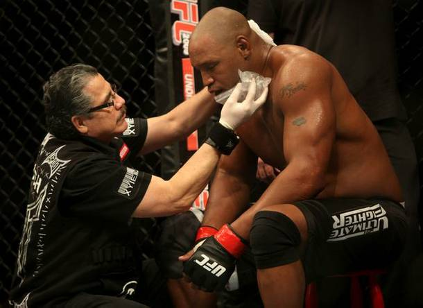 Cutman Stitch Duran helped Marcus Jones during his fight but coach Rampage Jackson was nowhere to be found.