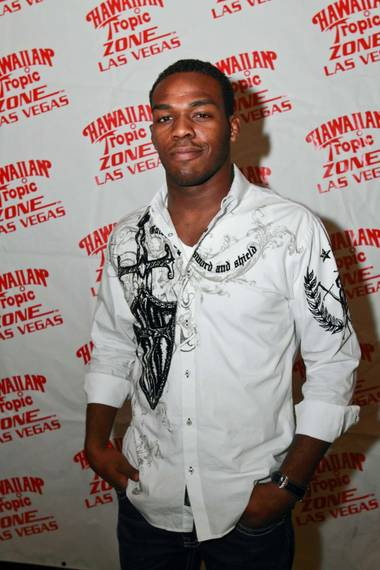 "Jon ""Bones"" Jones arrives at Hawaiian Tropic Zone in Planet Hollywood's Miracle Mile Shops on Dec. 5 2009."