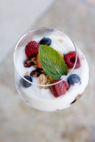 Granola and yogurt with berries at the new Jazz Brunch at Country Club Grill