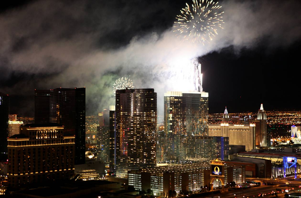 A total of $500,000 was spent to fire 96,000 blasts from the rooftops of seven Strip resorts for more than 300,000 people, making New Year's Eve in Las Vegas the nation's grandest spectacle.