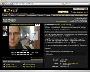 A screen grab of Michael Lane's alt.com profile.