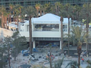 Even on a Saturday, construction continues on the Hard Rock's eagerly anticipated Sky Bar.