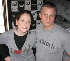 """Swagging"" with Seth Harris, co-creator of Badcock Apparel. Yes, my shirt reads ""I heart rooster."" Why, what did you think it said?"