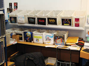 The mail room routes correspondence for performers posted at Cirque shows around the world.