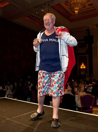 The Alpha Male: Mayor Oscar Goodman shows off a pair of Vilebrequin swim trunks, hoodie and towel.
