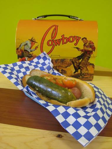 The Lunch Box specializes in Chicago style hot dogs.