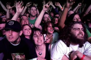 Fans go wild as the band 311 plays a concert at the Mandalay Bay Events Center in Las Vegas Thursday, March 11, 2010.