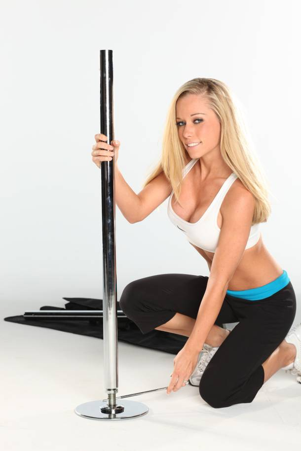 Kendra Wilkinson's stripper pole is included in a special Stripper 101 package available only on March 28.
