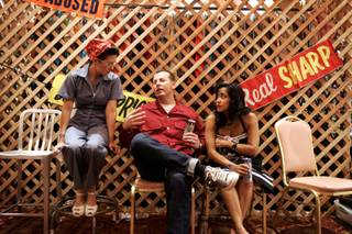 Darla Montoya, from left, of Los Angeles, sits with Dirty Sanchez and Tamra Reza of Ventura, California during Viva Las Vegas Rockabilly Weekend at The Orleans Hotel Friday, April 2, 2010.