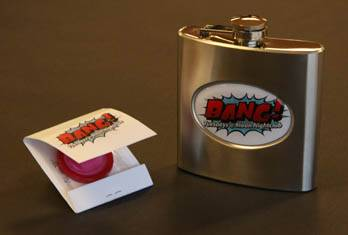 Bang! Swag: Party invitations arrived in the form of custom Bang! flasks. At Moon nightclub, condoms concealed inside matchbooks reminded partygoers to Bang! responsibly.