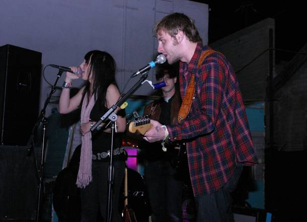 Darby O'Gill fiddle player Tristan Moyer on stage with Deer Tick during Wednesday's show at the Beauty Bar.