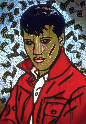 "Keith Haring, ""Elvis Presley"" on display at Bellagio Gallery of Fine Art."