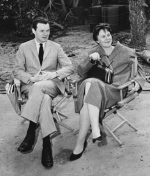 Harper Lee on the set of <em>To Kill a Mockingbird</em>