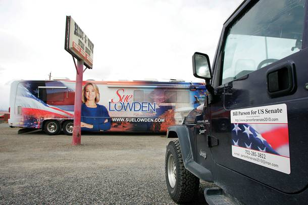 Sue Lowden's lazy left eye required some retouching for the side of her tour bus.