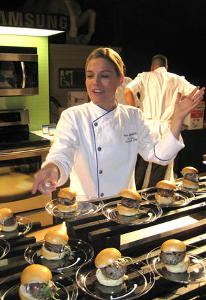 """Bon Appetit"" Executive Chef Cat Cora dished out Greek lamb and olive sliders with garlic sauce, as well as a potent blueberry martini."