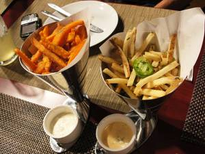 Sweet potato and garlic salt and pepper fries.