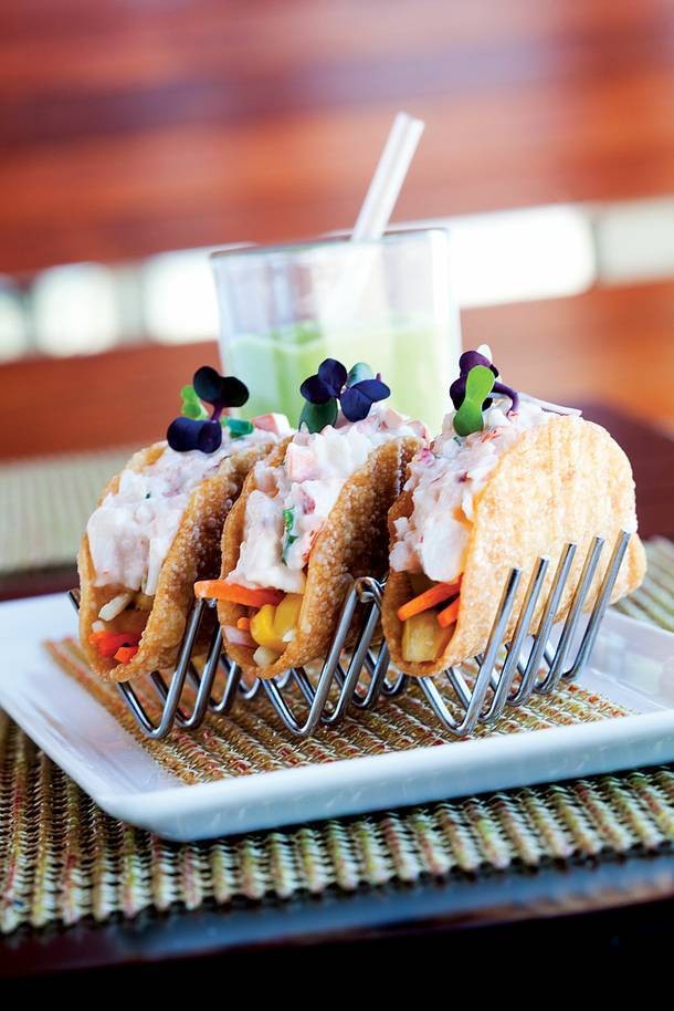 Mini lobster tacos at M Resort's Veloce Cibo.