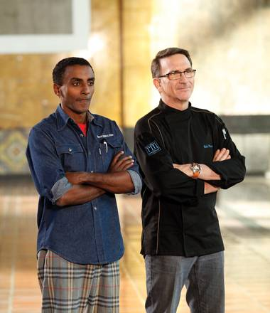 Was Rick Moonen cheated out of a win on Top Chef Masters? At left is winner Marcus Samuelson.