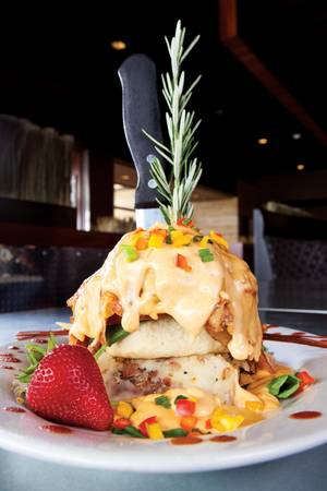 Hash House a Go Go's fried chicken Benedict.
