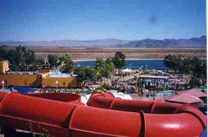 A view from the top of the slides at Rock-A-Hoola in the 1990s.