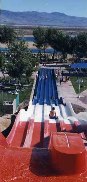 A view of the once lush grounds and pristine lake before sliding at Rock-A-Hoola in the 1990s.