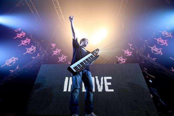 How can you resist checking out DJ/producer Joachim Garraud and his keytar?