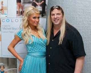 Paris Hilton and Michael Boychuck at his Color salon in Caesars Palace on Aug. 27, 2010.