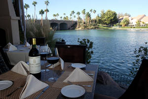 The lakeside view from Marche Bacchus in Summerlin.