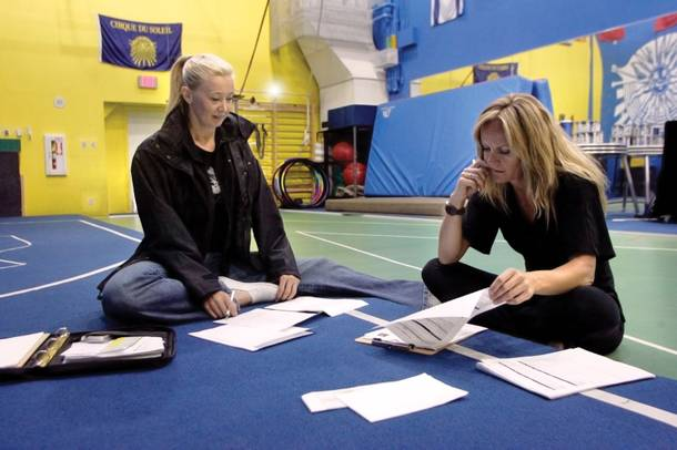 Casting directors Lisa Jones, left, and Stacy Clark assess the performers who had just auditioned.